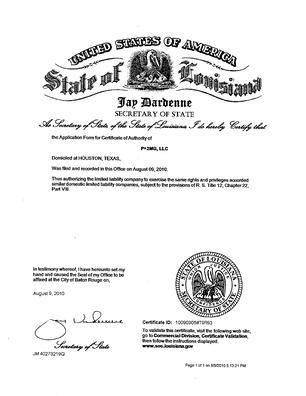 State of Louisiana Cert